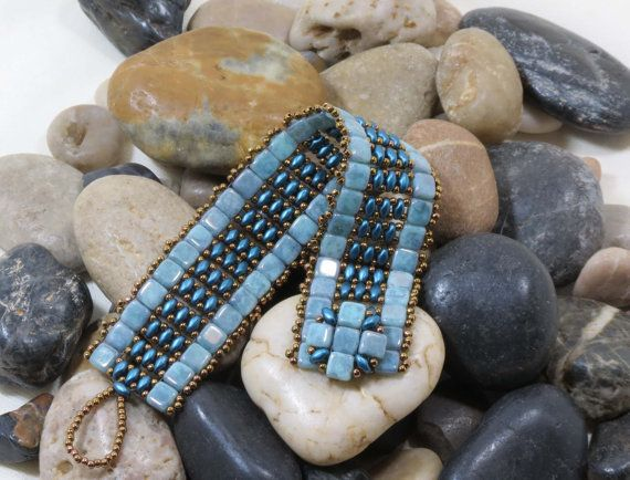 Super Duo Czechmate Tile Bracelet Turquoise Blue Picasso Tiles Petrol Blue Super Duo Antique Bronze Toho Seed Beads Beaded Clasp