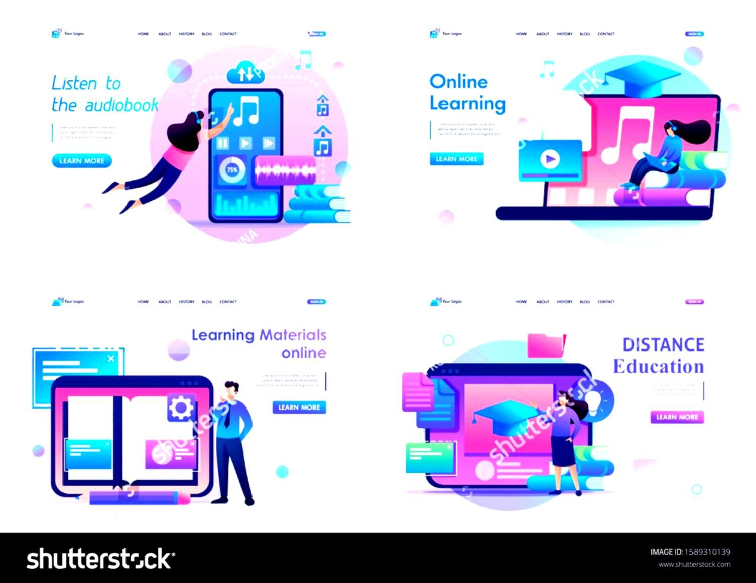 Distancelearningconceptsset Selfeducation Sponsored Concepts Distance Learning Landing Design Flat Page Set And For Web 2dset 2d Flat Concepts Di 2020