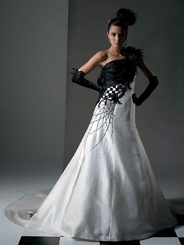 Is That A Spider Web Halloween Wedding Dresses Black White Wedding Dress Wedding Dresses
