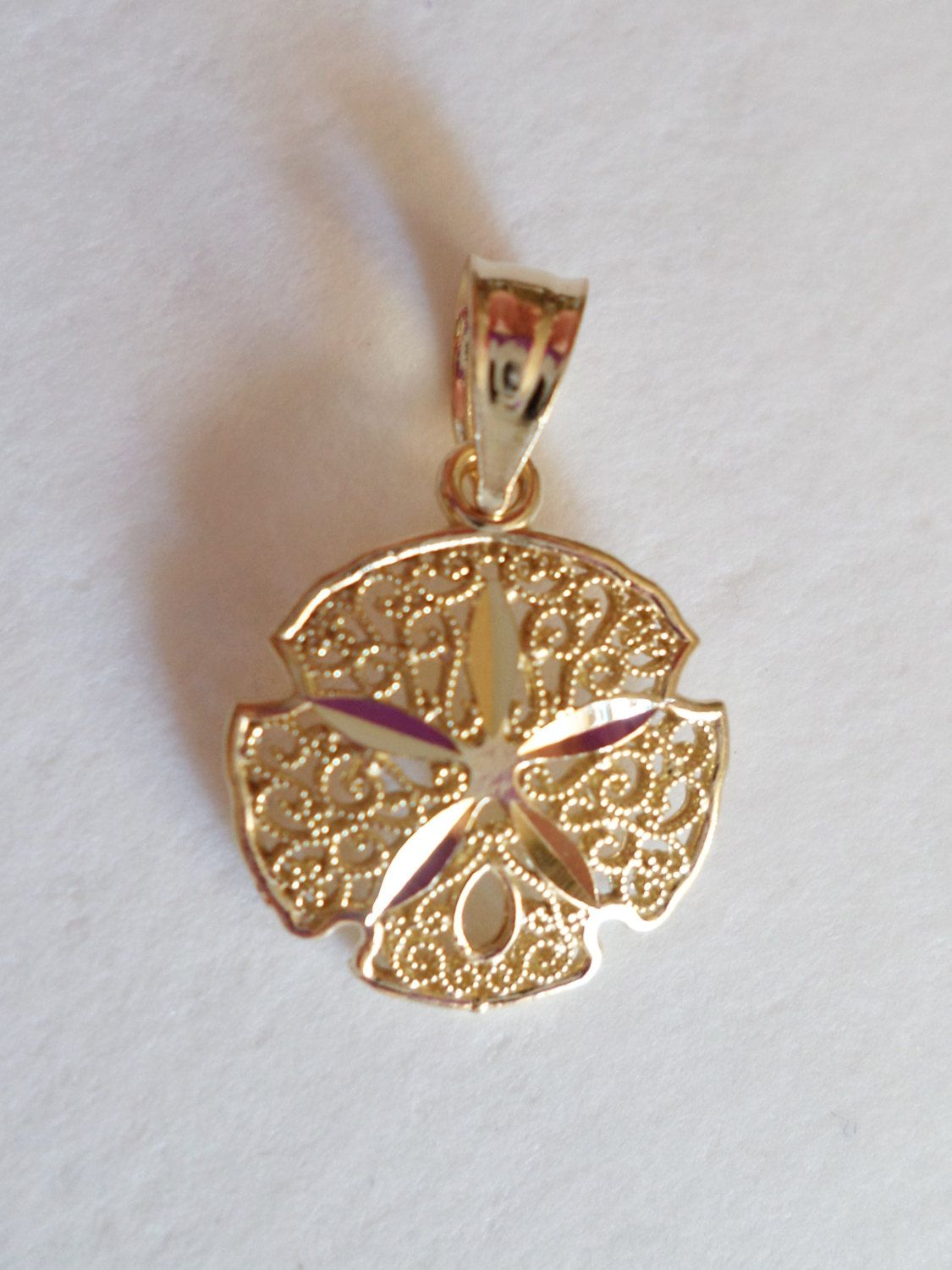 14K Yellow Gold Stamped And NJ Hallmarked Small Filigree Open Work Pendant By Bestintreasures On Etsy