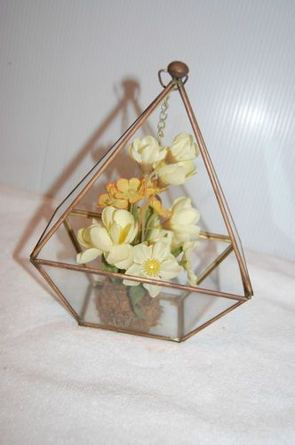 Vintage Brass Glass Hanging or Standing Collectible Display Case Dome