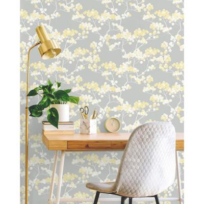 Buttercup And Grey Cyprus Blossom Peel And Stick Wallpaper 30 75 Sq Ft Peel And Stick Wallpaper Wood Feature Wall Smooth Walls