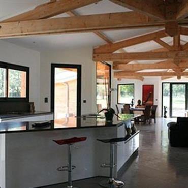 Espace cuisine salle manger salon avec charpente en bois for Charpente apparente salon