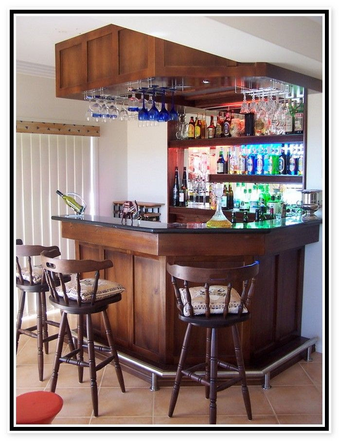 Mini Bar For Home With Hanging Wine Glass Rack And Open Shelving