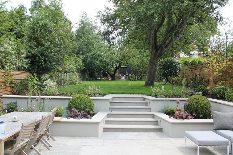 Split level backyard ideas landscape contemporary with spacious ...