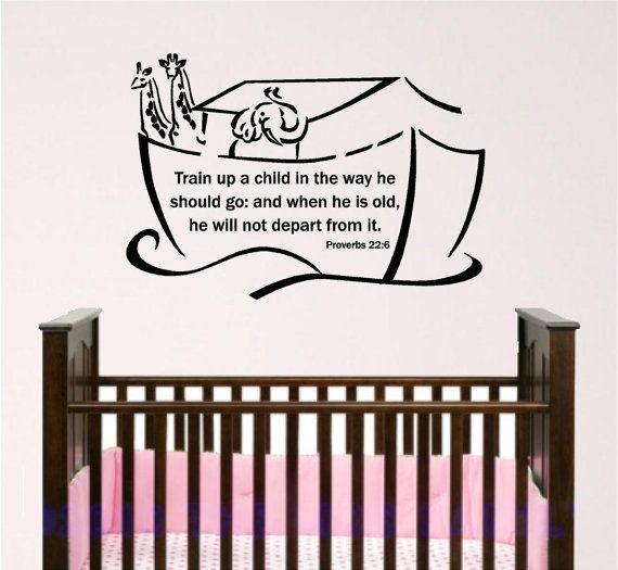 Nursery Bible Verse Wall Art Noahs Ark Baby Room Wall Decal - Bible verse nursery wall decals