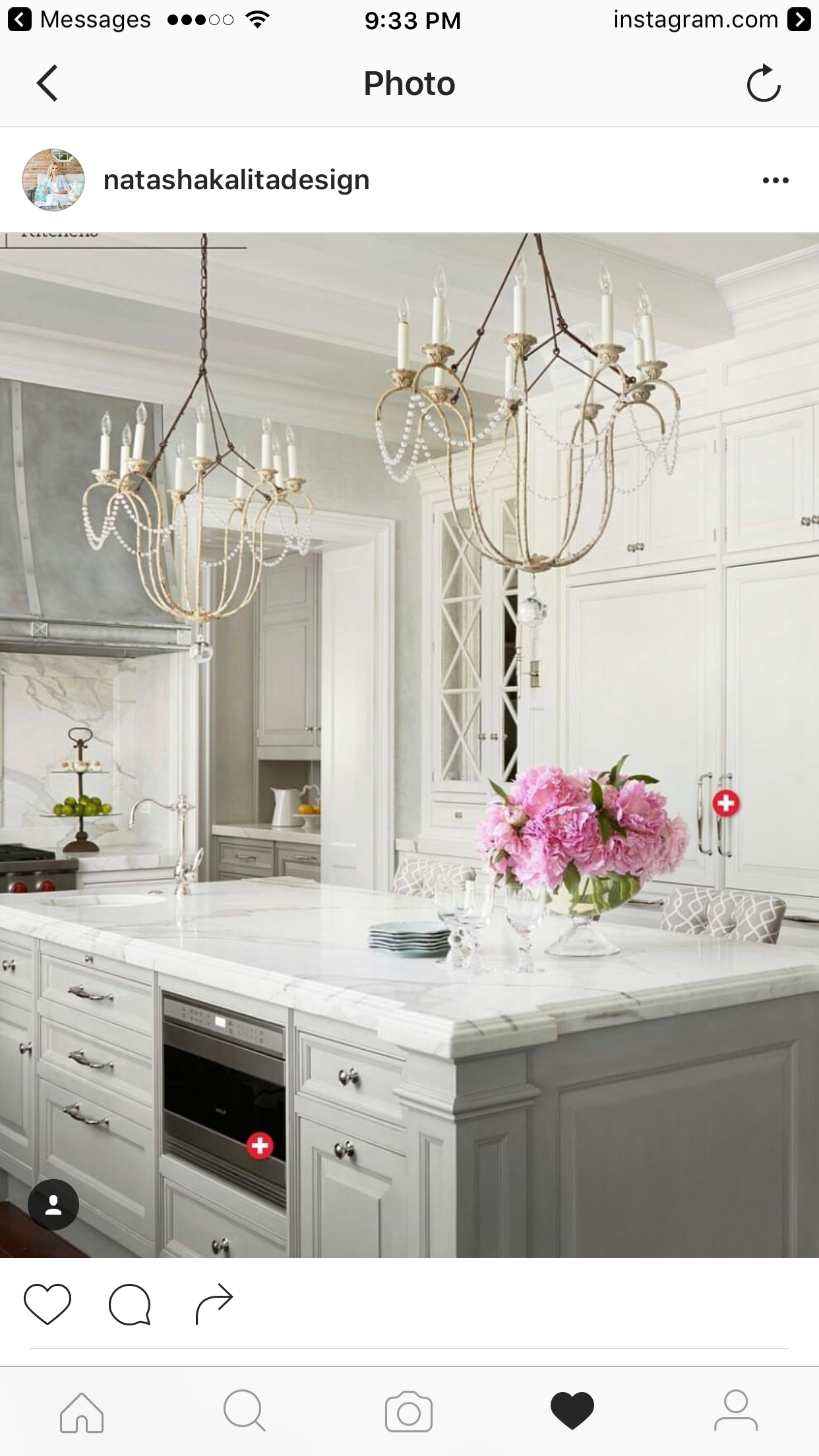 Love this kitchen Silver hood Blue grey island to off set the