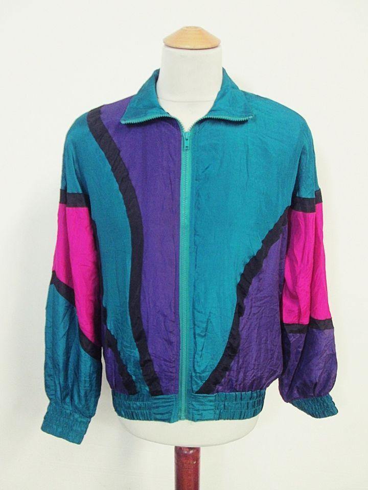 Vintage USA Avant Garde Art Hipster Pattern Shellsuit Tracksuit Top Jacket M