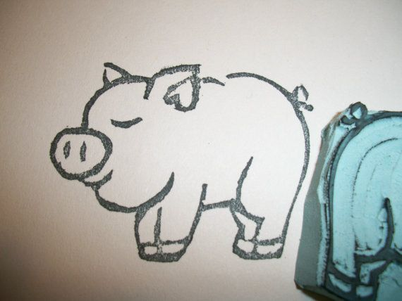 pig rubber stamp hand made piggy unmounted on etsy 4 53