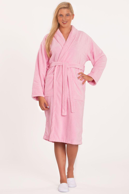 Adult Microfiber / Terry Shawl Robe - Pink - Adult - XXLarge
