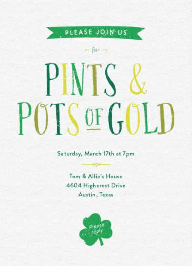 pints pots of gold free for a limited time online invitations