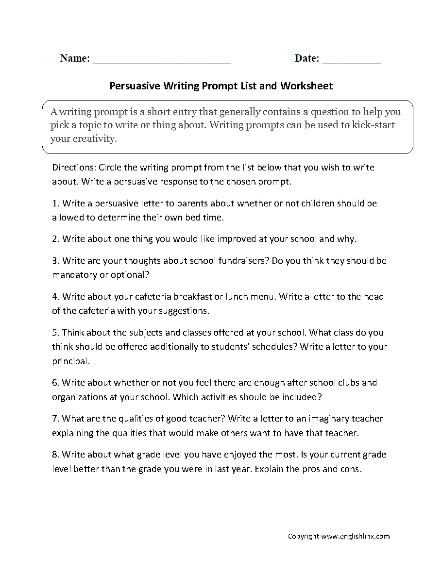 small resolution of Englishlinx.com   Writing Prompts Worksheets