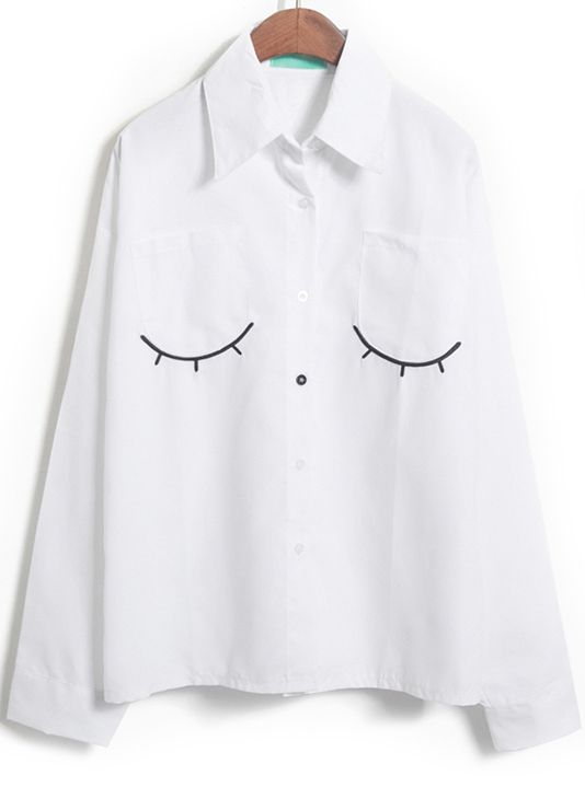 White Long Sleeve Eyelash Embroidered Blouse - abaday.com