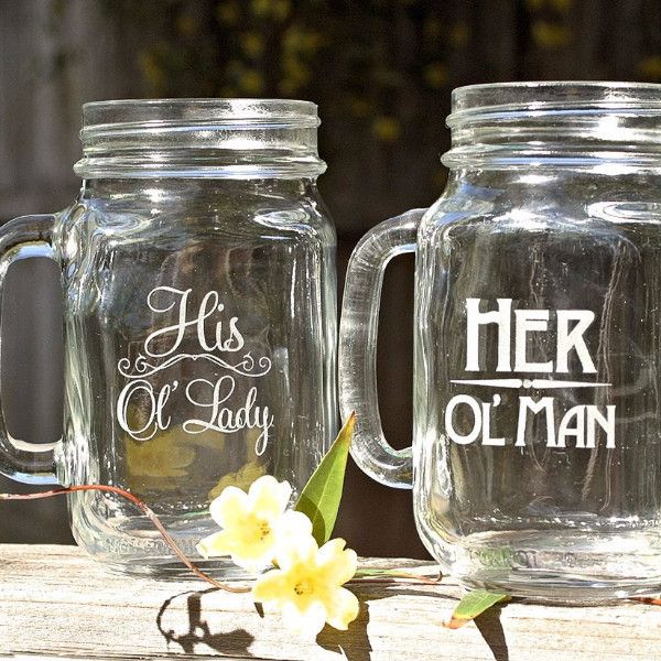 Old Man Christmas Gifts: His And Her Mason Jar Mugs