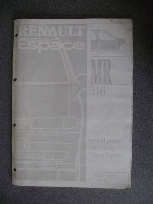Renault Espace Grand Espace Special Points Manual 1997