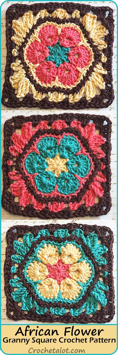African Flower Granny Square Pattern   Ganchillo, Flores africanas y ...