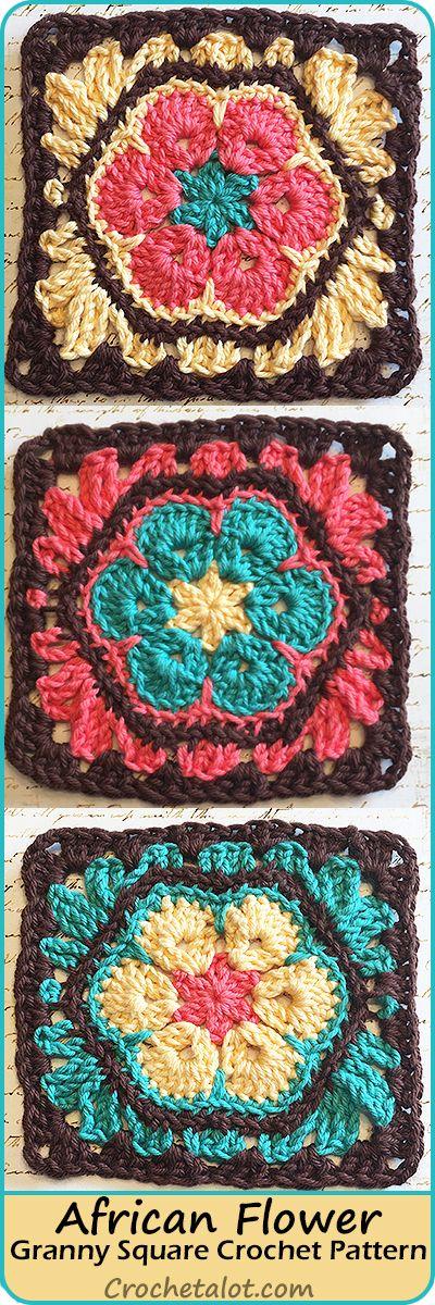 African Flower Granny Square Pattern | Pinterest | Häkelideen ...