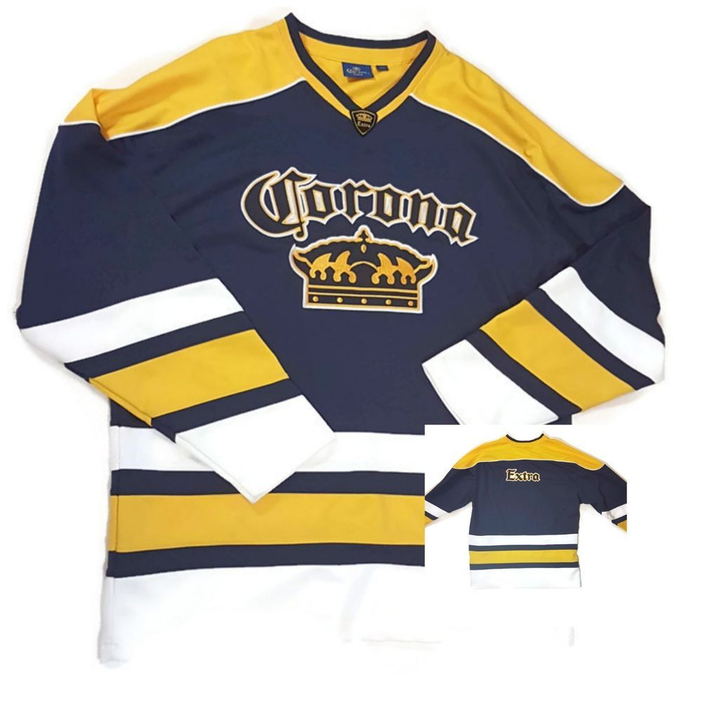 Mens Corona Extra Beer Embroidered Logo Hockey Jersey Pullover Large L  Modelo  Corona 7c995fd1a5d