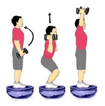 Hand Weights On Upside Down Bosu Bosu Workout Squat Press Bosu Ball