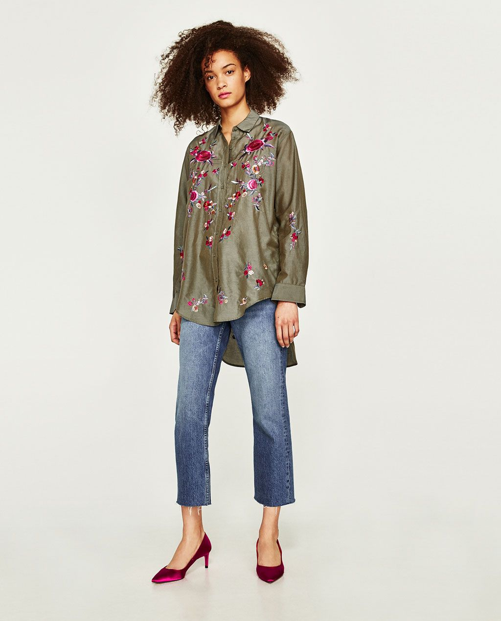 Zara flannel shirt mens  FLORAL EMBROIDERY SHIRT from Zara  My Style  Clothes  Pinterest