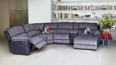 Bourbon Fabric Modular Corner Recliner Lounge Suite