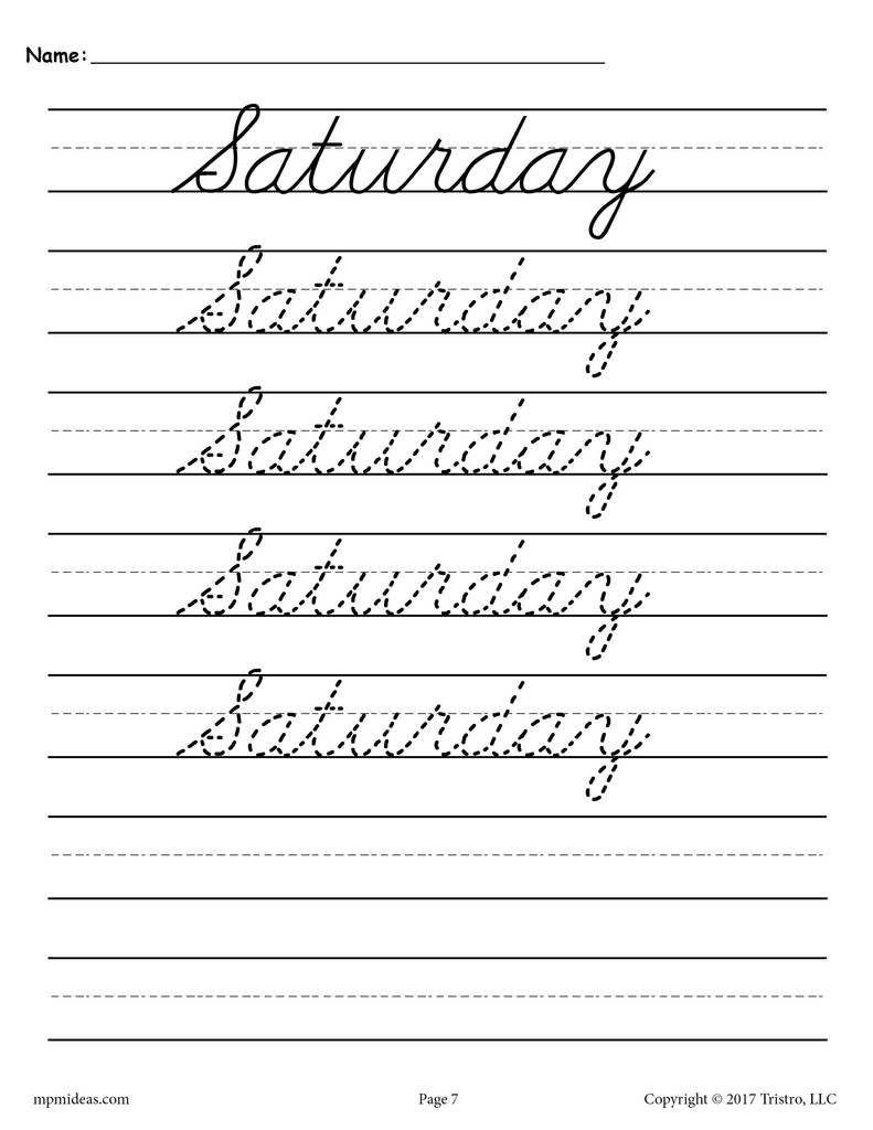 7 Free Writing Worksheets Printable In 2020 Cursive Writing Practice Sheets Cursive Handwriting Practice Handwriting Worksheets