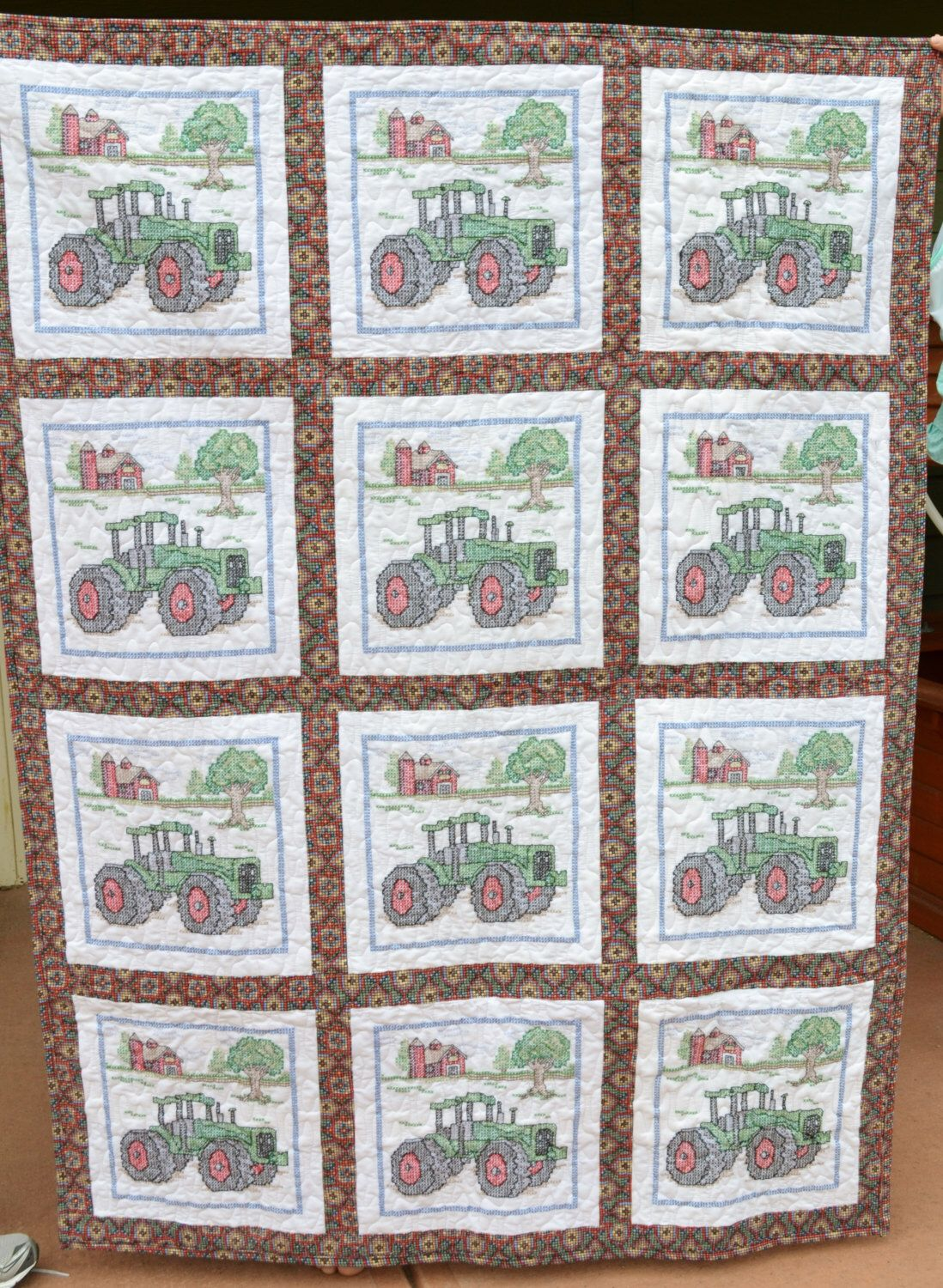 A personal favorite from my Etsy shop https://www.etsy.com/listing/239992163/farm-tractor-quilt