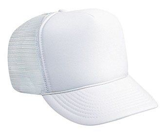 0cc81411553 Professional Style Polyester Foam Front High Crown Golf Style Mesh Back  Adjustable Hat Cap White     Click image to review more details.