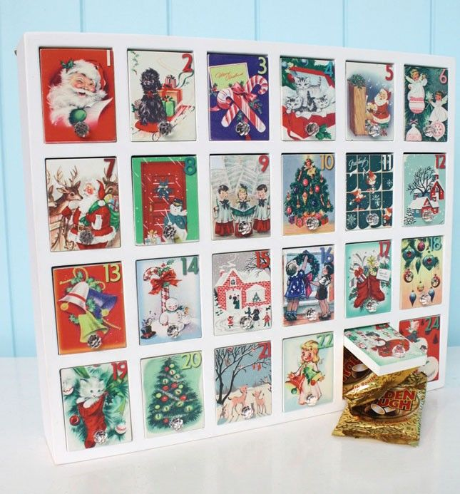 oh so cute advent calendar made with xmas cards received last year