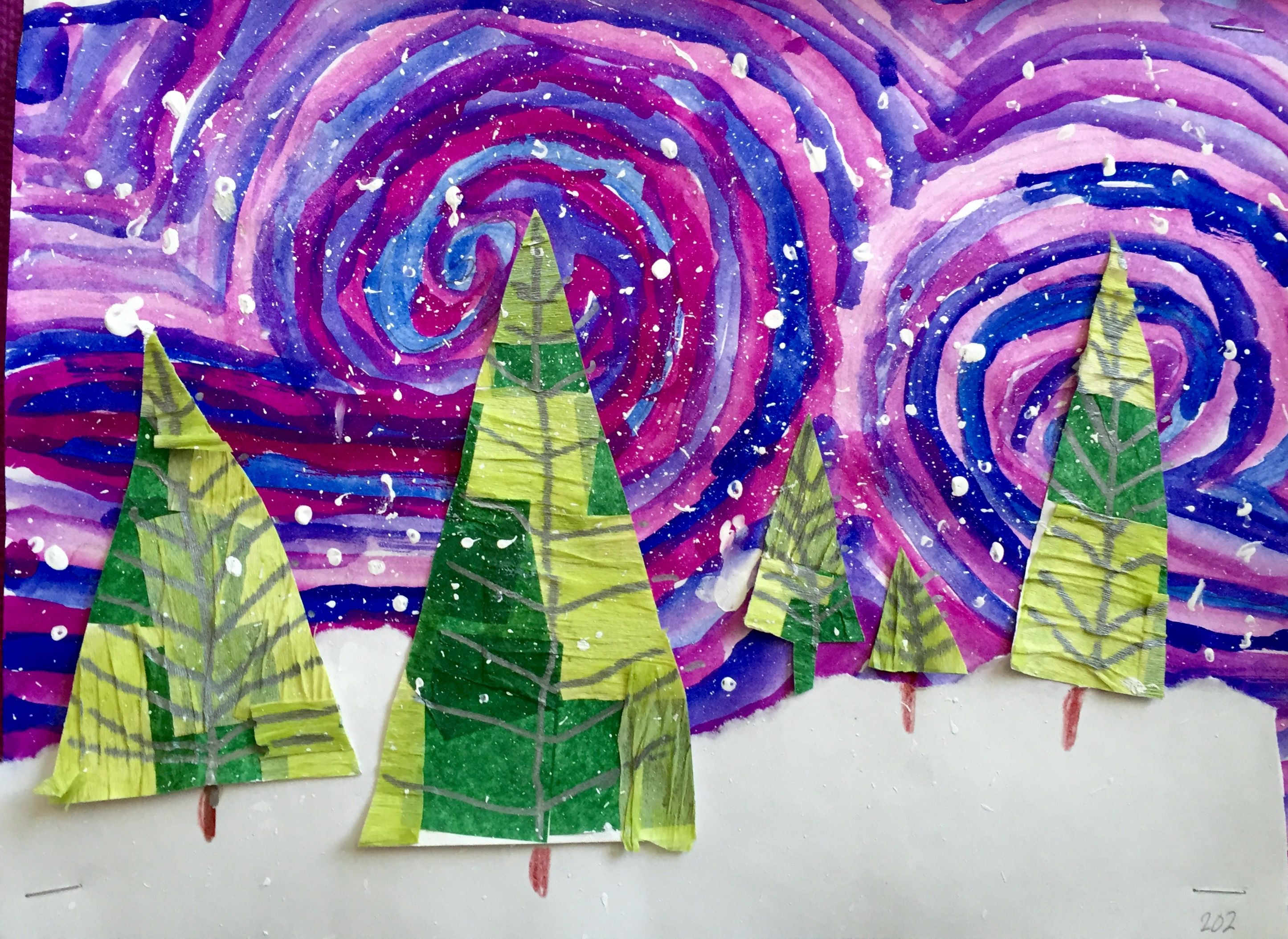 collage (trees), movement (sky) using line, foreground, mid ground, back ground with the trees.