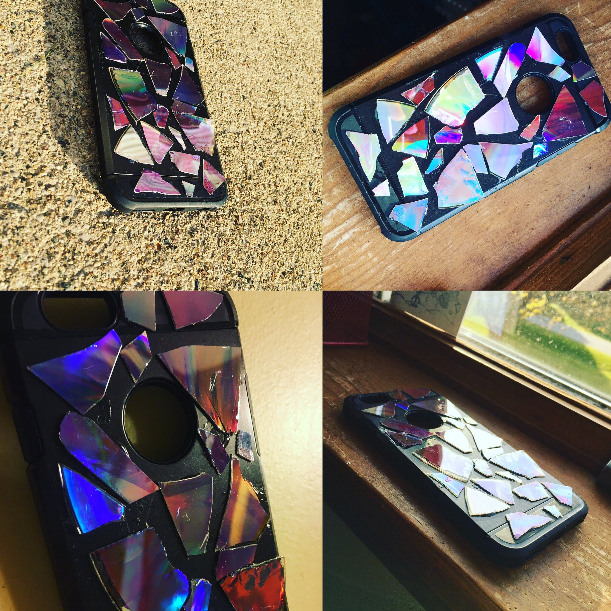 Cracked holographic phone case DIY you need 1. Glue 2. CD 3 ...