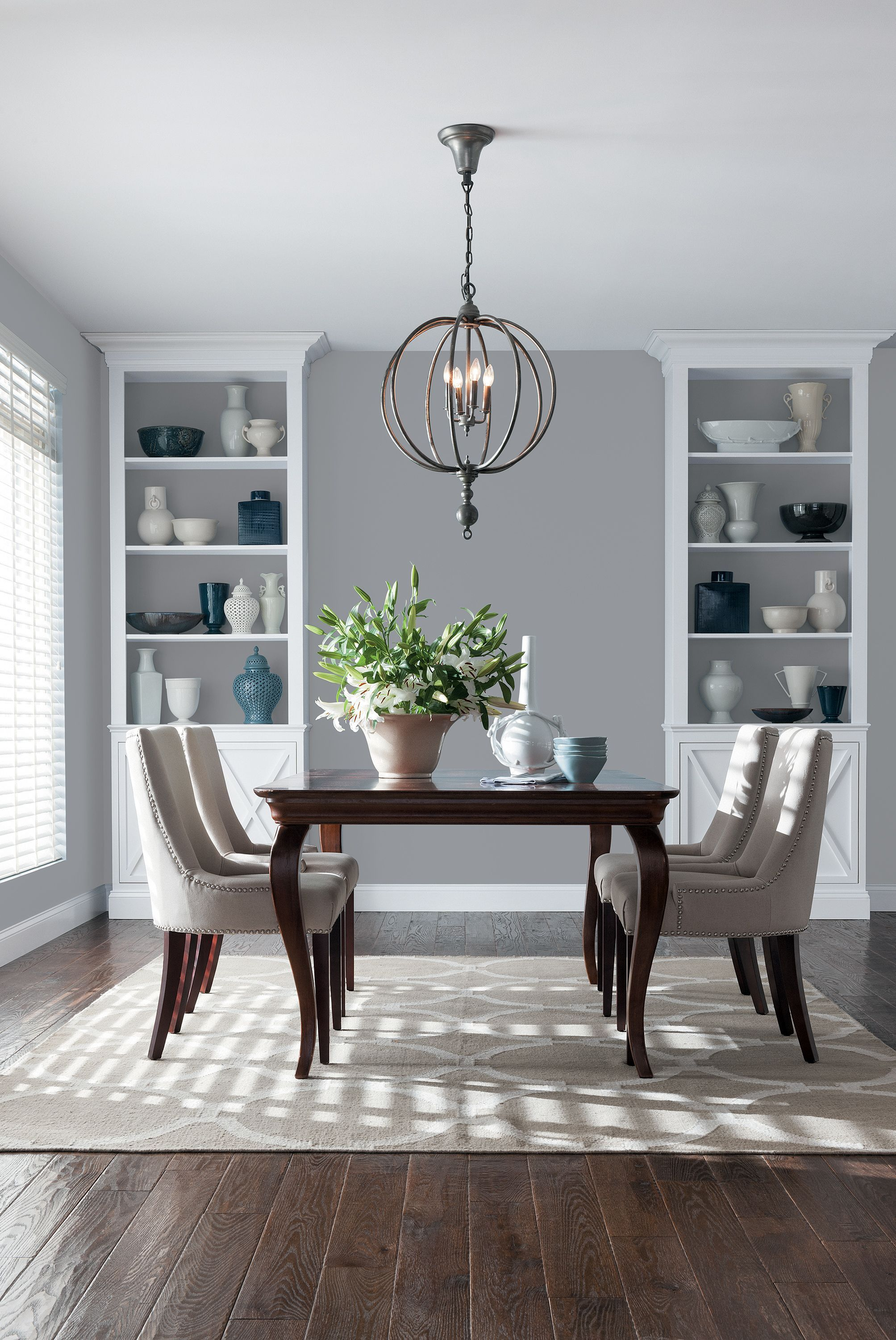 You Don T Need Dramatically Different Shades To Create A Contrast Here Gray Walls Create A Backdrop Dining Room Colors Dining Room Paint Dining Room Remodel