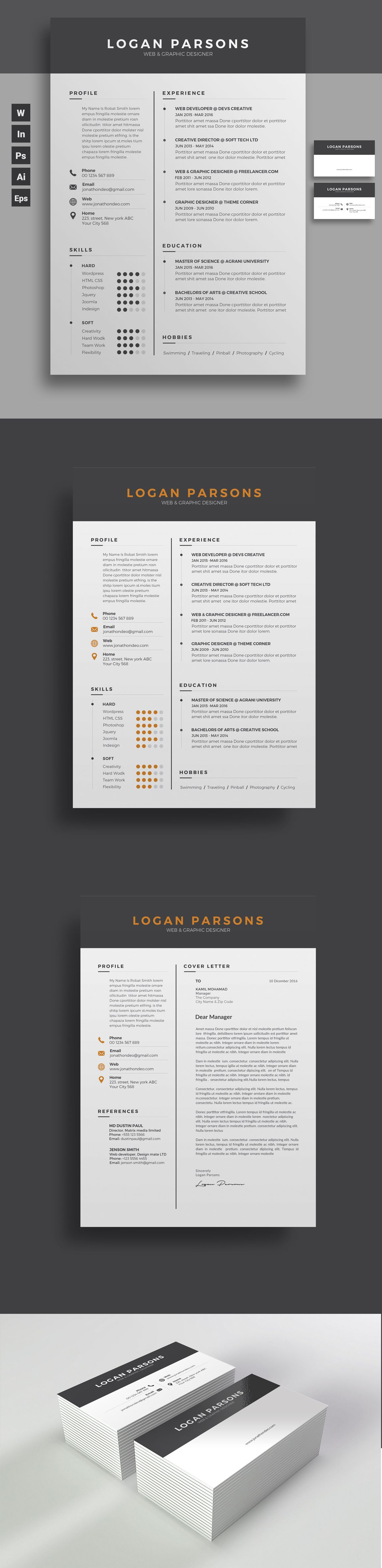 Resumecv clean resume design template with free coverletter and business card psd template instant download microsoft reheart Image collections