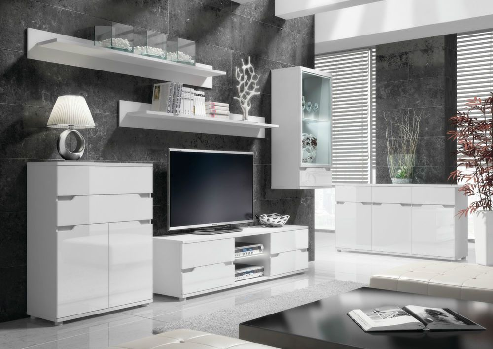 Aspire High Gloss White Lounge Furniture Sideboard TV Unit Tall Display Cabinet In Home