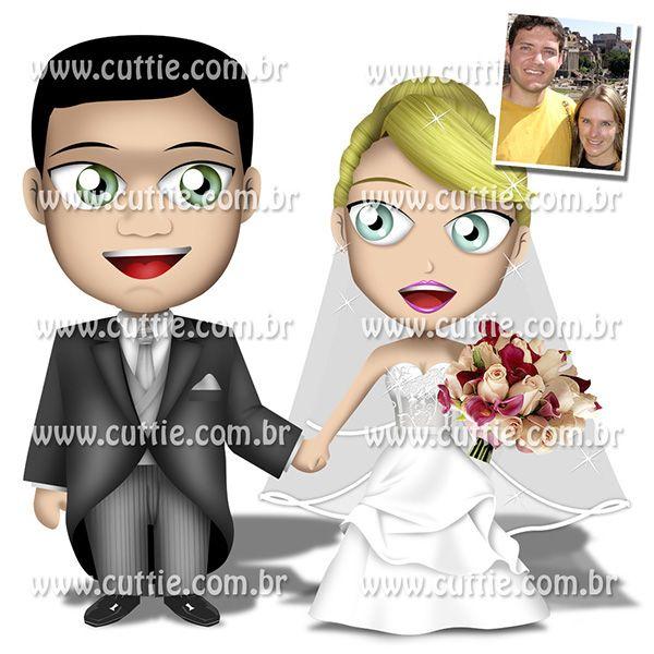Caricatura para casamento - Noivos Katia e Paulo - noivinhos cuttie