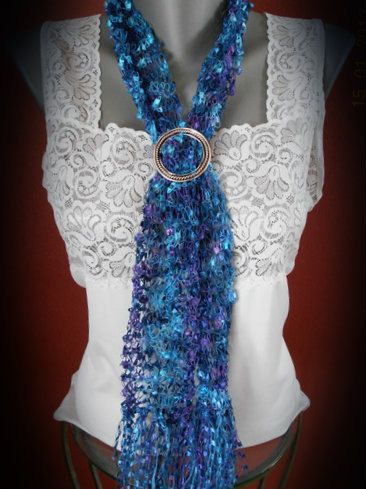 Ladder Yarn Knitted Scarf Necklace By Whispersoftquilts On
