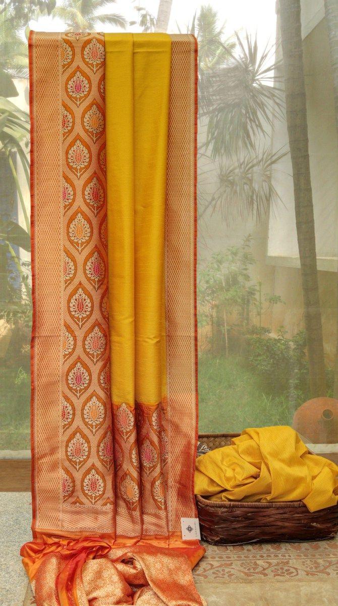 Yellow silk saree benares silk l  silk saree and saris
