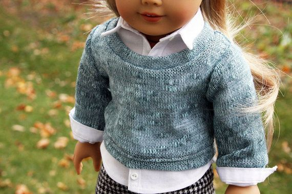American Girl Doll Clothes Aqua Sweater Button by sewurbandesigns