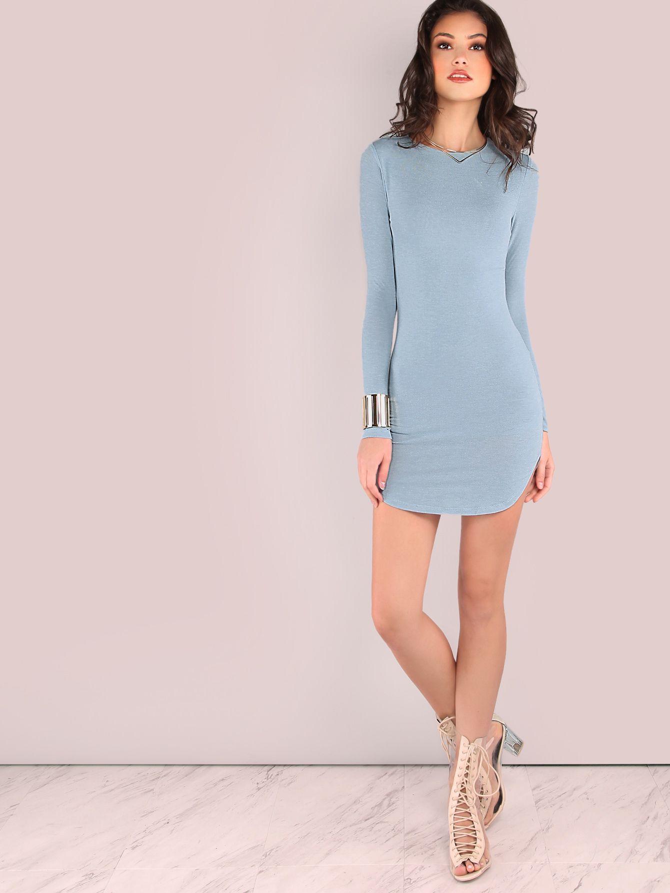 Blue Long Sleeve Curved Hem Bodycon Dress