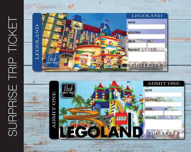 Legoland Surprise Trip Gift Ticket Boarding Pass Printable Ticket Trip Ticket Vacation Ticket Instant Download Editable Pdf File In 2020 With Images Printable Tickets Legoland Travel Gifts