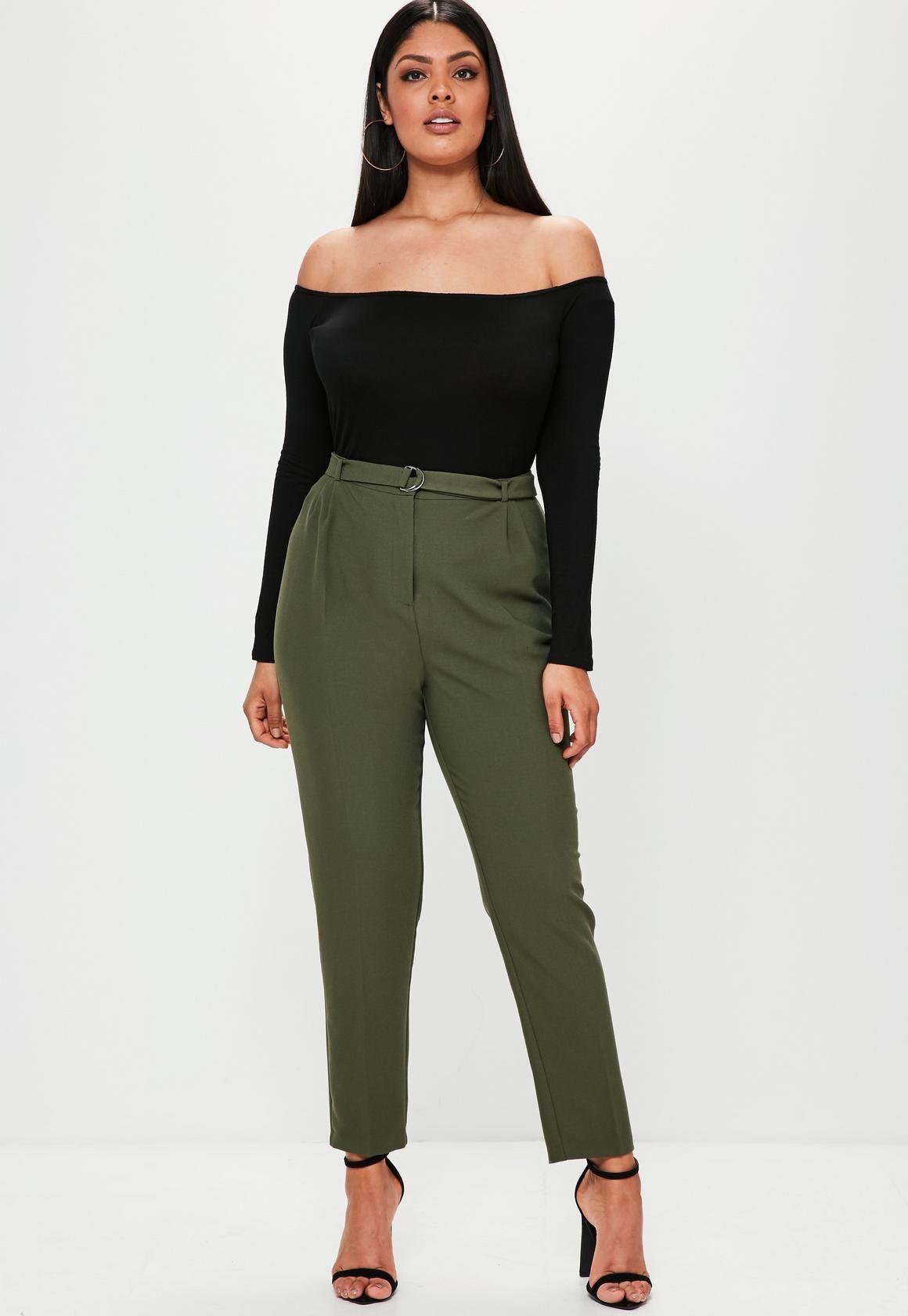 5a3aaed6c36 Missguided - Plus Size Khaki D Ring Cigarette Pants