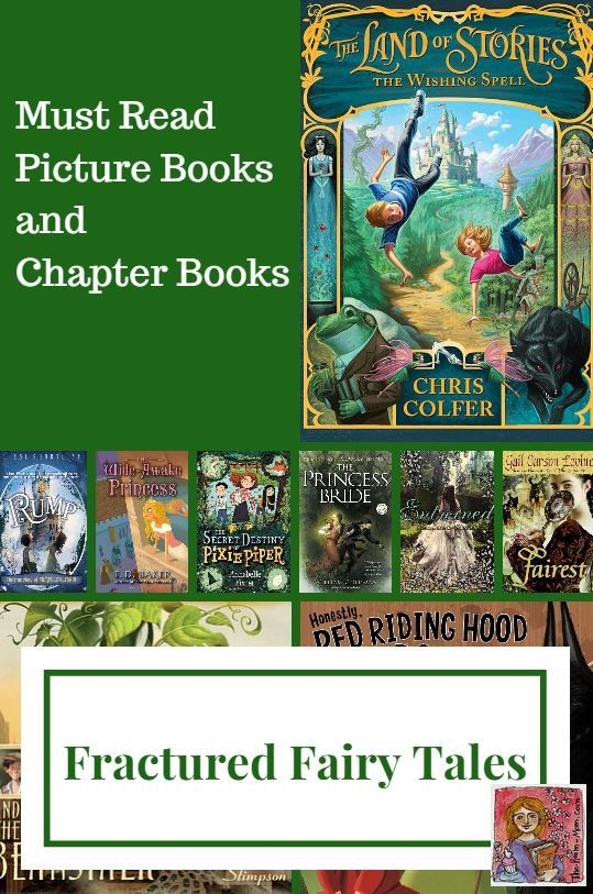 Fractured fairy tale book list, over 20 titles for elementary and middle school, fun picture books and chapter books that put a spin on classic fairy tales