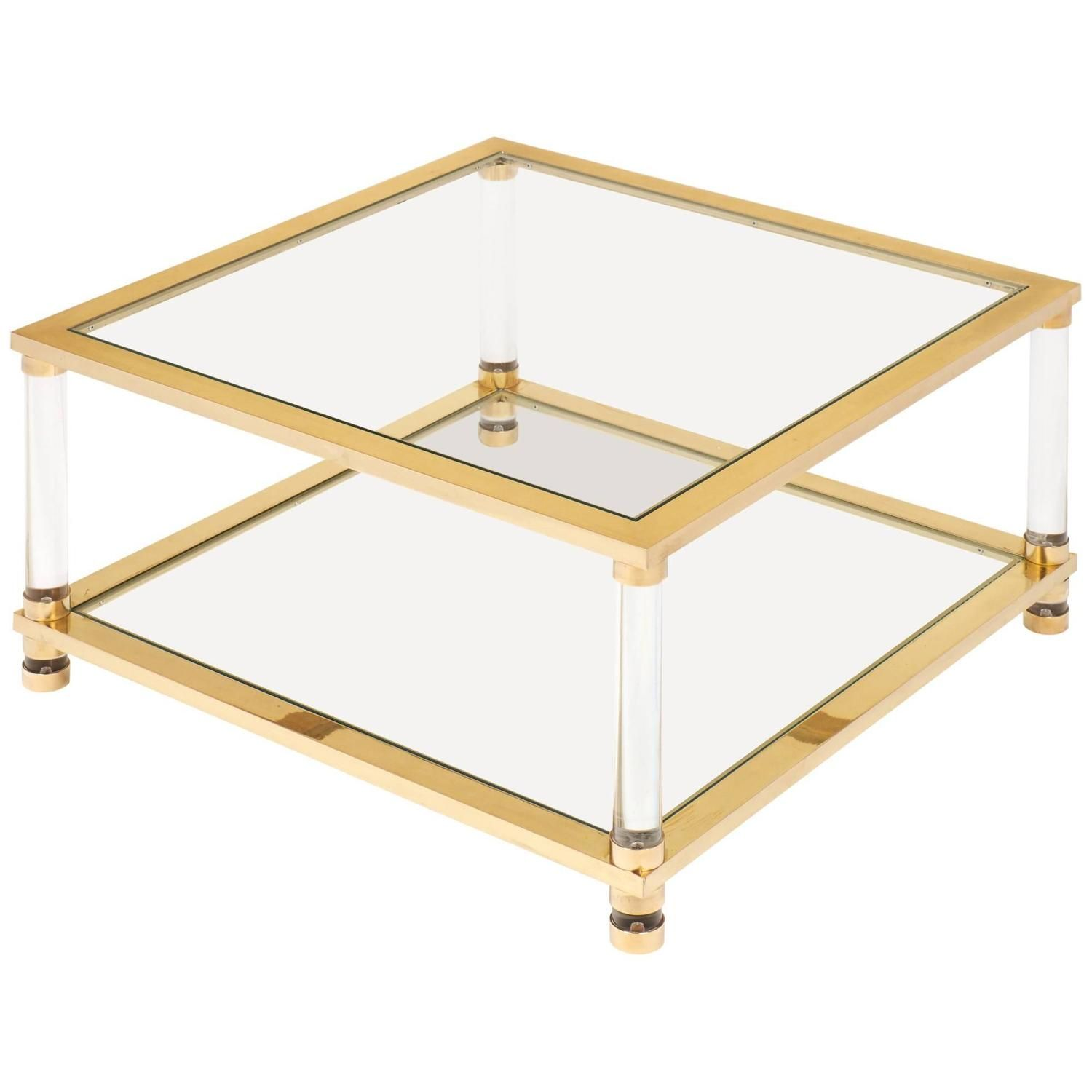 Mid Century Lucite Brass Glass Coffee Table