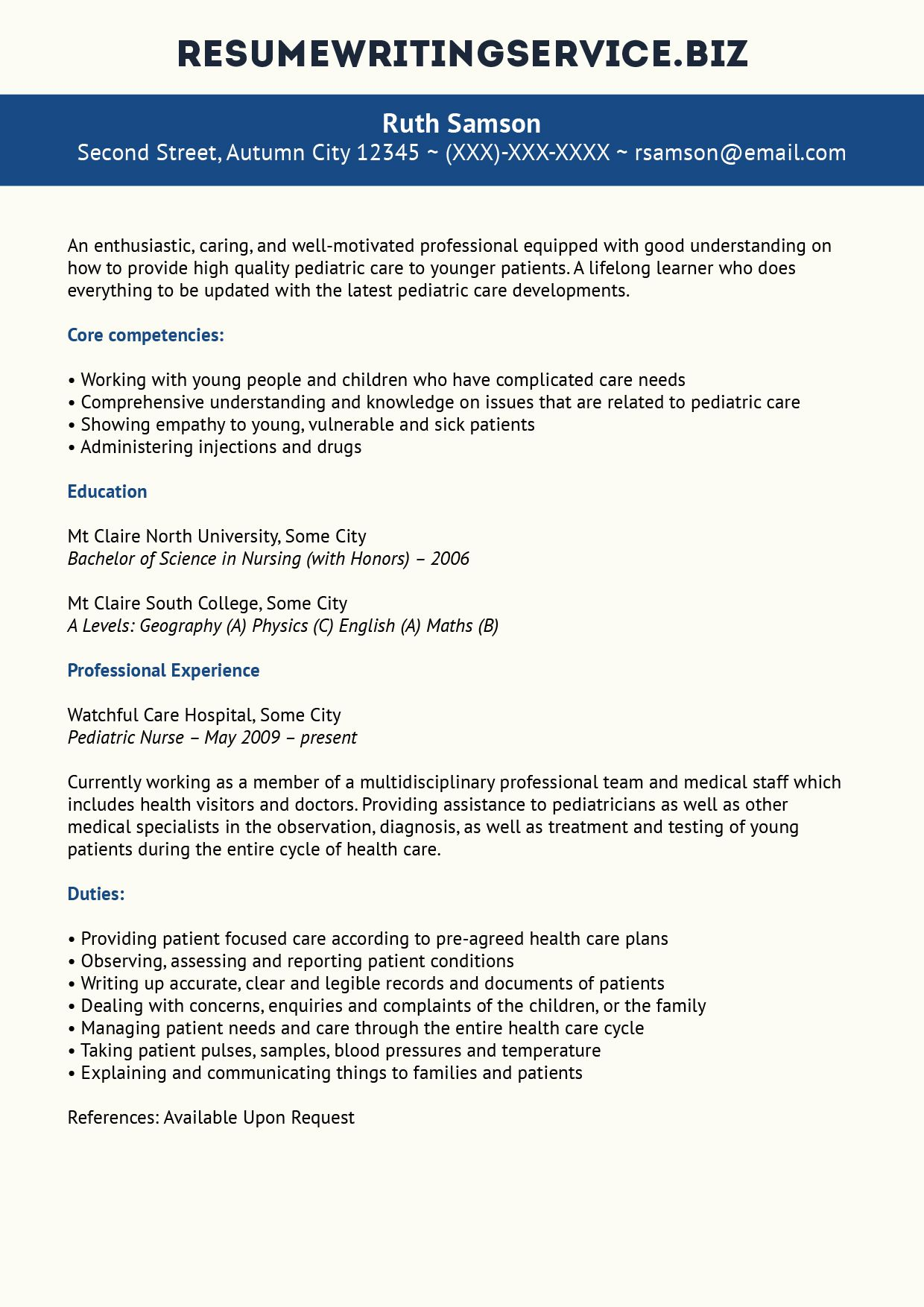 Pediatric Nurse Resume Sample Resume writing services