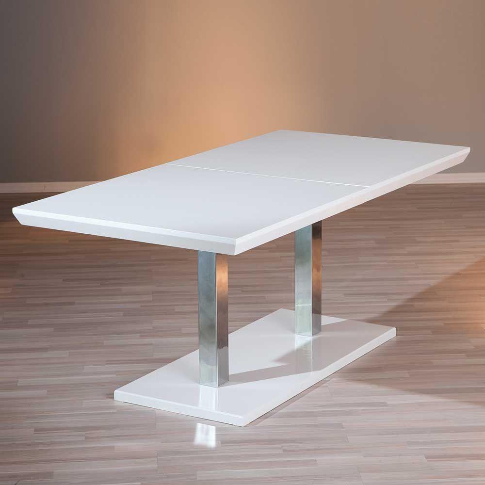 ausziehtisch in weiß hochglanz 200 cm küchentisch,esszimmertisch, Esstisch ideennn