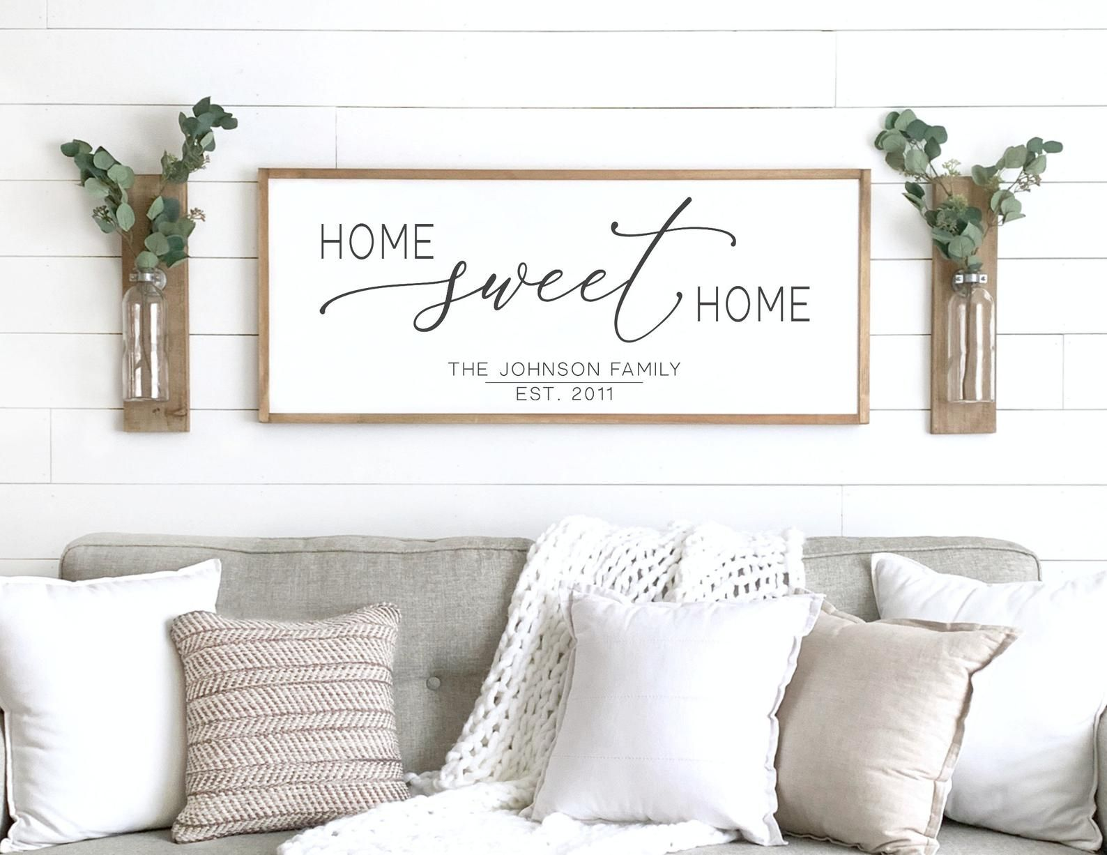 Home Sweet Home Sign Wood Framed Sign Home Wall Decor Etsy Above Couch Decor Couch Decor Wall Decor Living Room #wood #signs #for #living #room