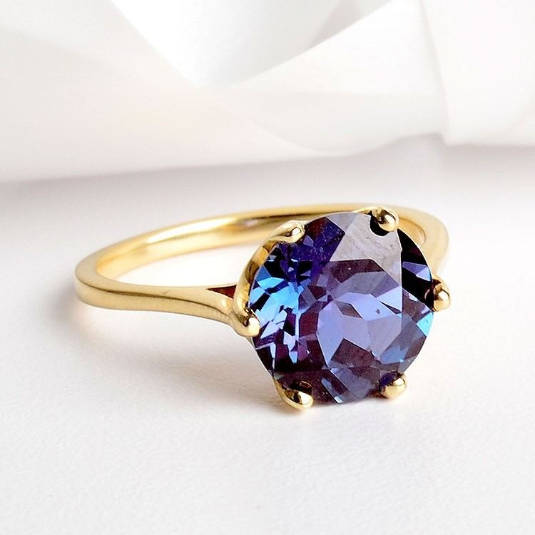 Round Alexandrite Solitaire 14K Ring $725