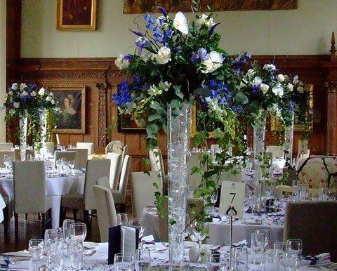 Theme Mariage Bleu Mariane Blanc Argent Centre Table Theme