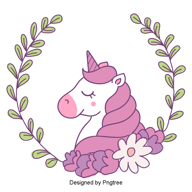 Vector Png Unicorn The Sleeping Unicorn White Unicorn Pink Hair Border Pink Vector Hair Vector Unicorn Vector Unicorn Logo Free Graphic Design Unicorns Png