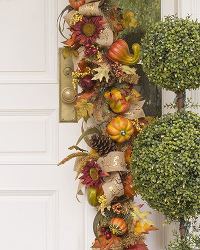 Lovingly crafted by hand, the Fall Harvest Foliage is adorned with